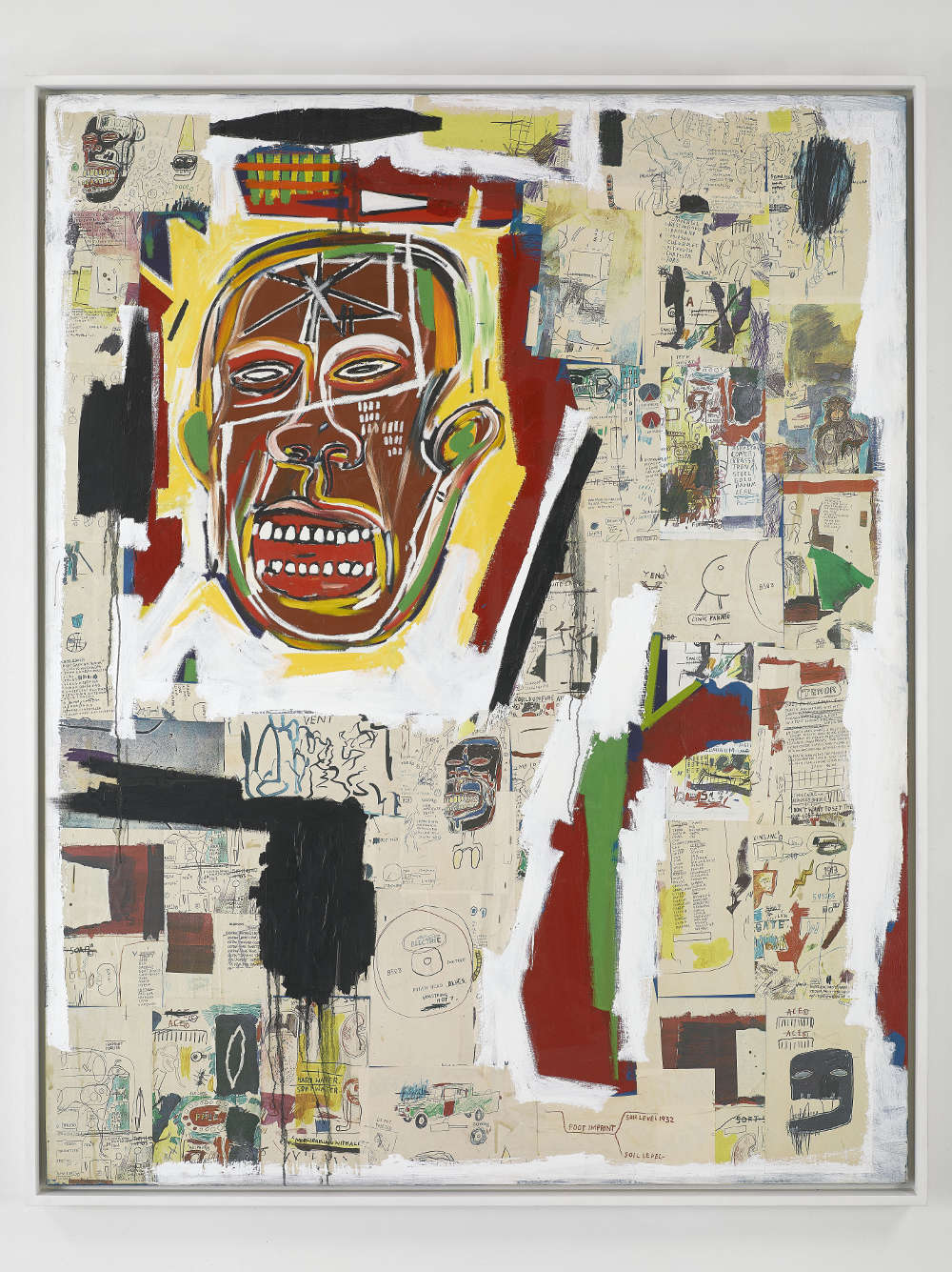 Jean-Michel Basquiat, King of the Zulus, 1984-85. Acrylic, oilstick, and Xerox collage on paper mounted on canvas 86x68 x1.5inches(218.5x173x4cm) MAC, Musée d'Art Contemporain, Marseille © Estate of Jean-Michel Basquiat. Licensed by Artestar, New York