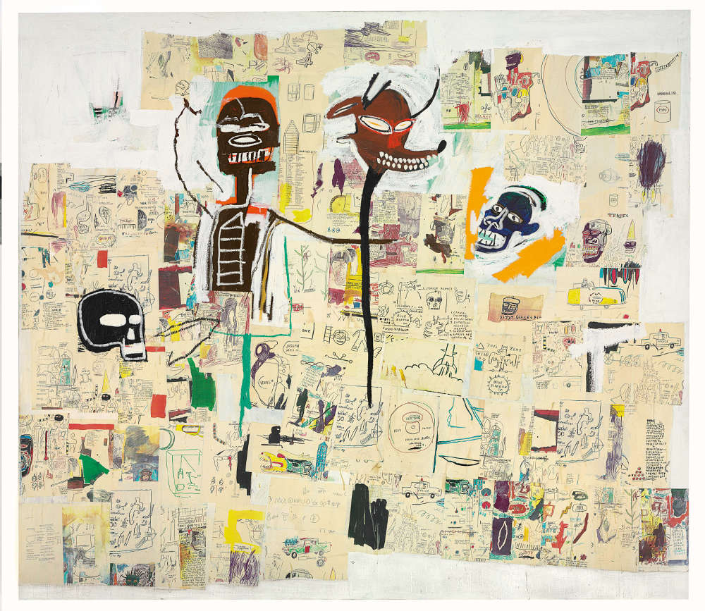 Jean-Michel Basquiat, Peter and the Wolf, 1985. Acrylic, oilstick, and Xerox collage on canvas 100 x 113.78 inches (254 x 289 cm) Collection of The Robert Lehrman Revocable Trust, Courtesy of Aimee and Robert Lehrman © Estate of Jean-Michel Basquiat. Licensed by Artestar, New York