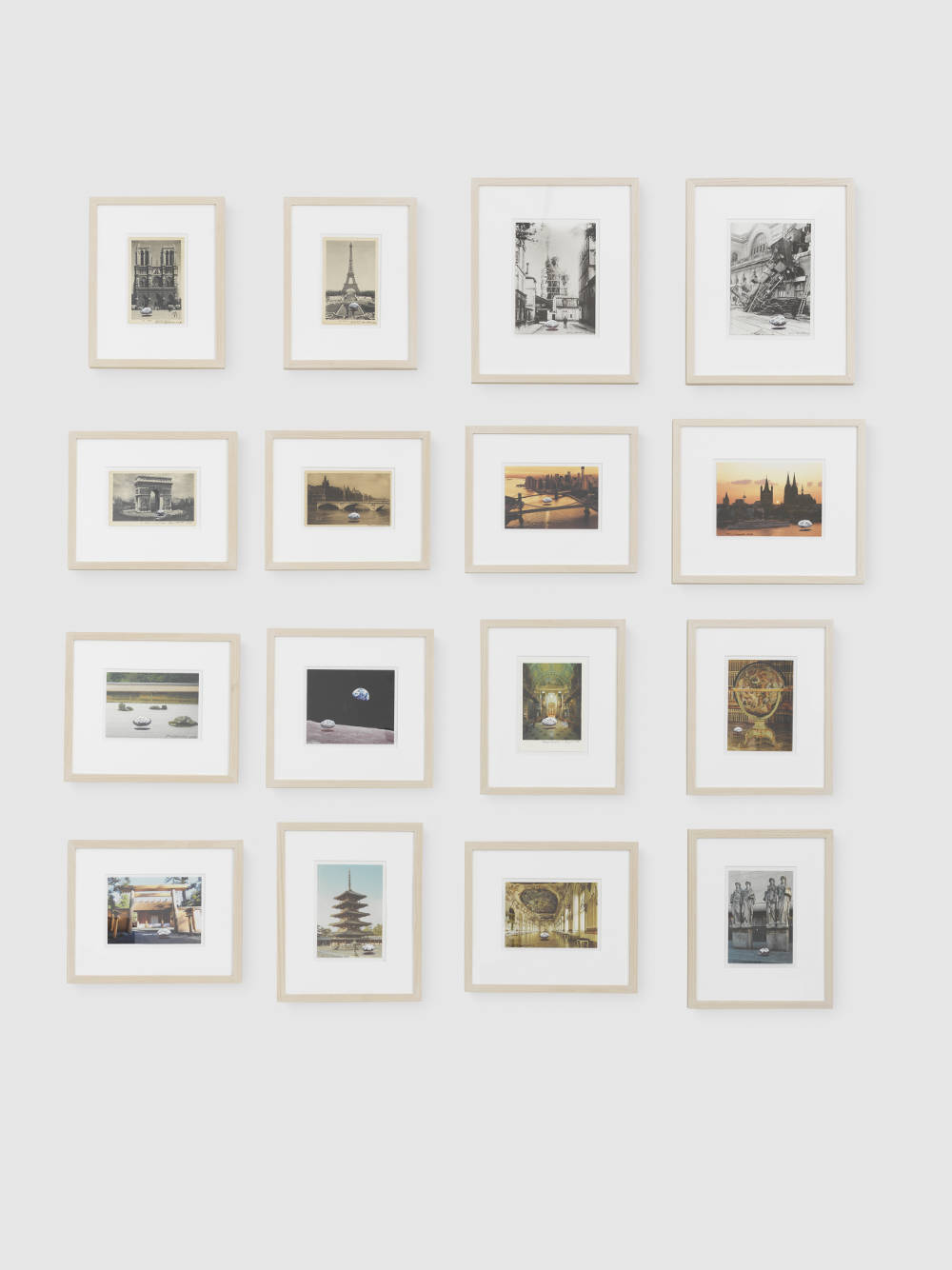 Keiji Uematsu, Floating Stone, 2017/2018. Set of 16 painted postcards, ball-point pen, Tipp-Ex. Dimensions variable. Courtesy the artist and Simon Lee Gallery