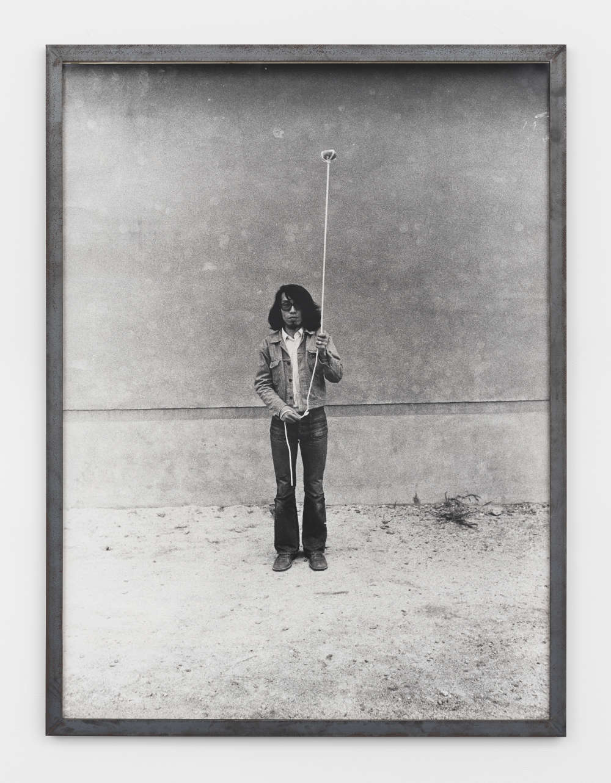 Keiji Uematsu, Stone/Rope/Man II, 1974. Gelatin silver print, vintage 120 x 89 cm (47 1/4 x 35 1/8 in.) Edition 1 of 3. Courtesy the artist and Simon Lee Gallery