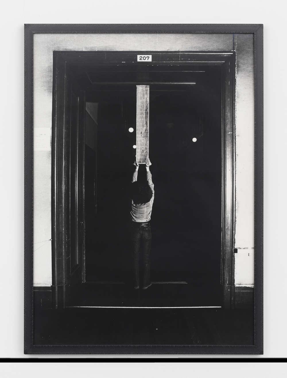 Keiji Uematsu, Vertical Position, 1973. Gelatin silver print, unique, vintage 102.4 x 72.4 cm (40 1/4 x 28 1/2 in.) Courtesy the artist and Simon Lee Gallery