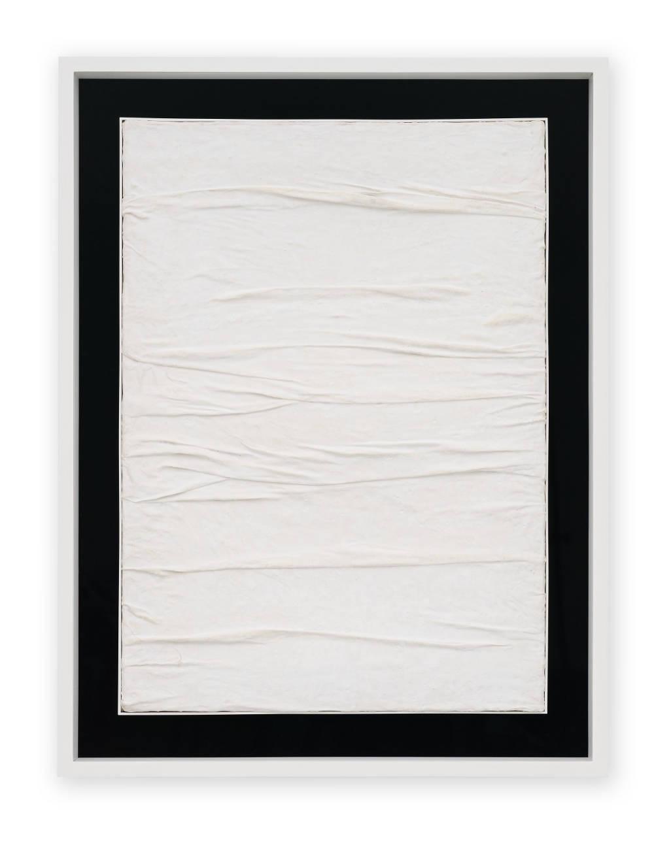 Piero Manzoni, Achrome, c. 1958. Creased canvas and kaolin 70 x 50 cm / 27 1/2 x 19 5/8 in. Courtesy Fondazione Piero Manzoni, Milan and Hauser & Wirth. Photo: Jon Etter © Fondazione Piero Manzoni, Milan