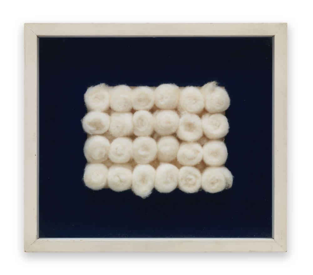 Piero Manzoni, Achrome , 1961 - 1962. Cotton wool balls 15 x 20 cm / 5 7/8 x 7 7/8 in (cotton) Private Collection. Courtesy Fondazione Piero Manzoni, Milan and Hauser & Wirth © Fondazione Piero Manzoni, Milan