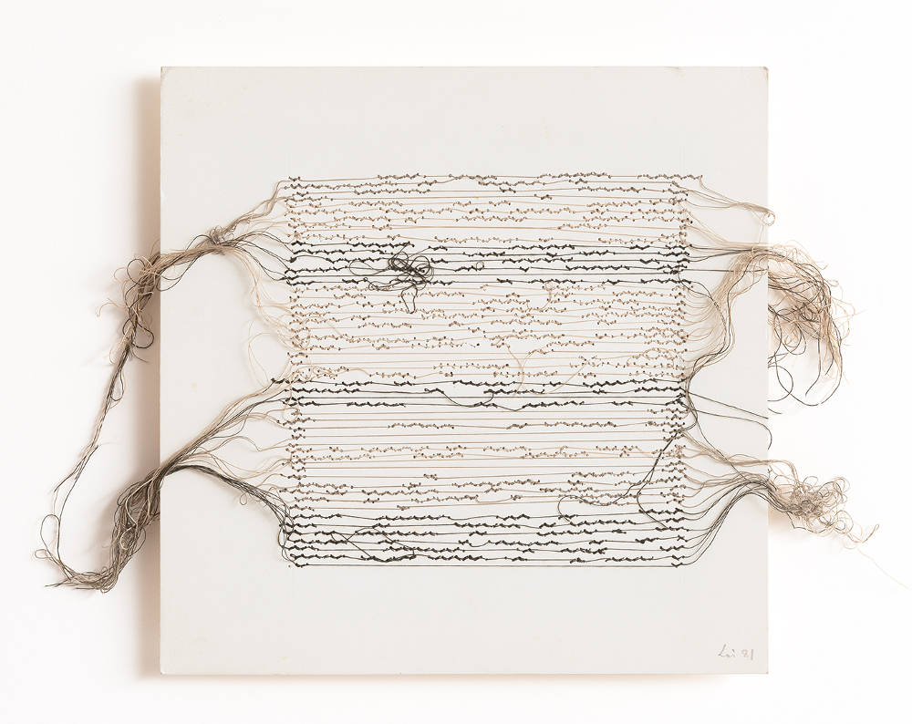 Maria Lai, Untitled, 1981. Cotton Thread on cardboard 22 x 22 cm