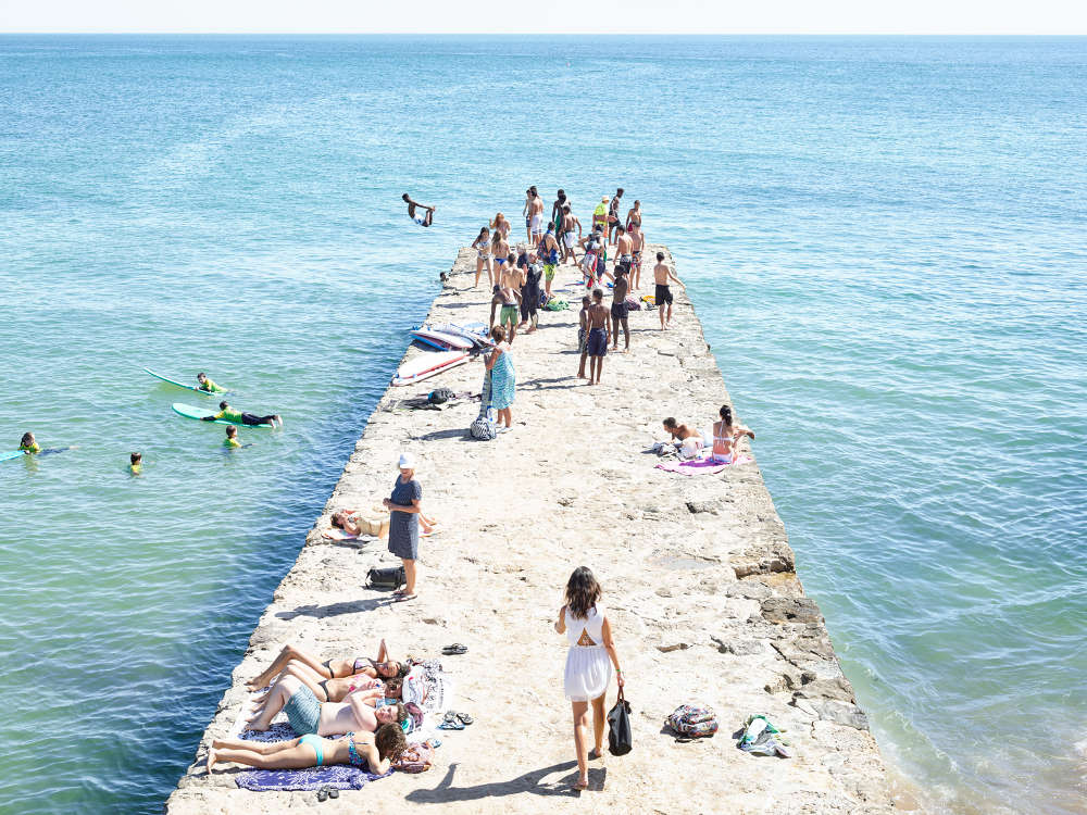 Massimo Vitali, Carcavelos Pier, 2016. Lightjet C-Print from direct file in Diasec Mount, 241 x 180 cm (unframed) Courtesy Mazzoleni London Torino