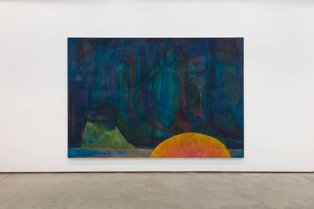 Alastair Mackinven, Untitled, 2015-2018. Oil and iron powder on canvas 220 x 320 cm © Alastair Mackinven, courtesy Maureen Paley, London