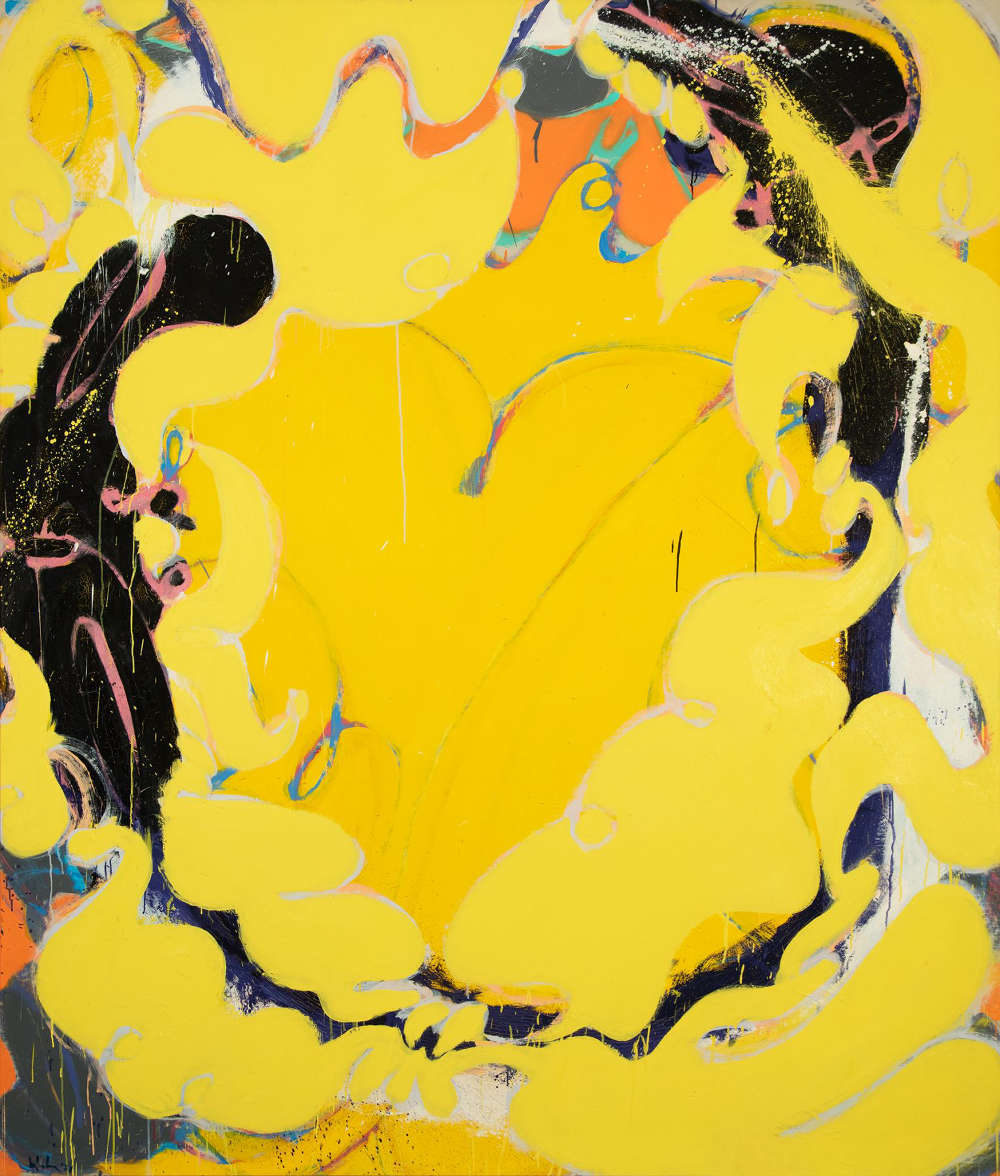 Norman Bluhm (1921-1999), Golden Flaxen Maiden, 1978. Oil on canvas, 89 x 76 inches. Signed and dated lower left: bluhm '78