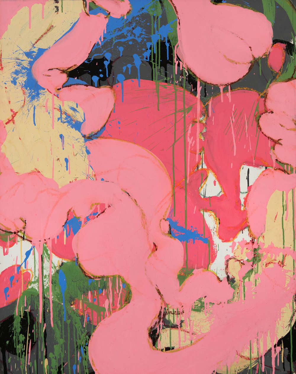 Norman Bluhm (1921-1999), Untitled, 1974. Acrylic and pastel on canvas mounted to canvas, 48 x 38 inches. Signed and dated lower right: bluhm / '74. Signed and dated verso: bluhm / '74