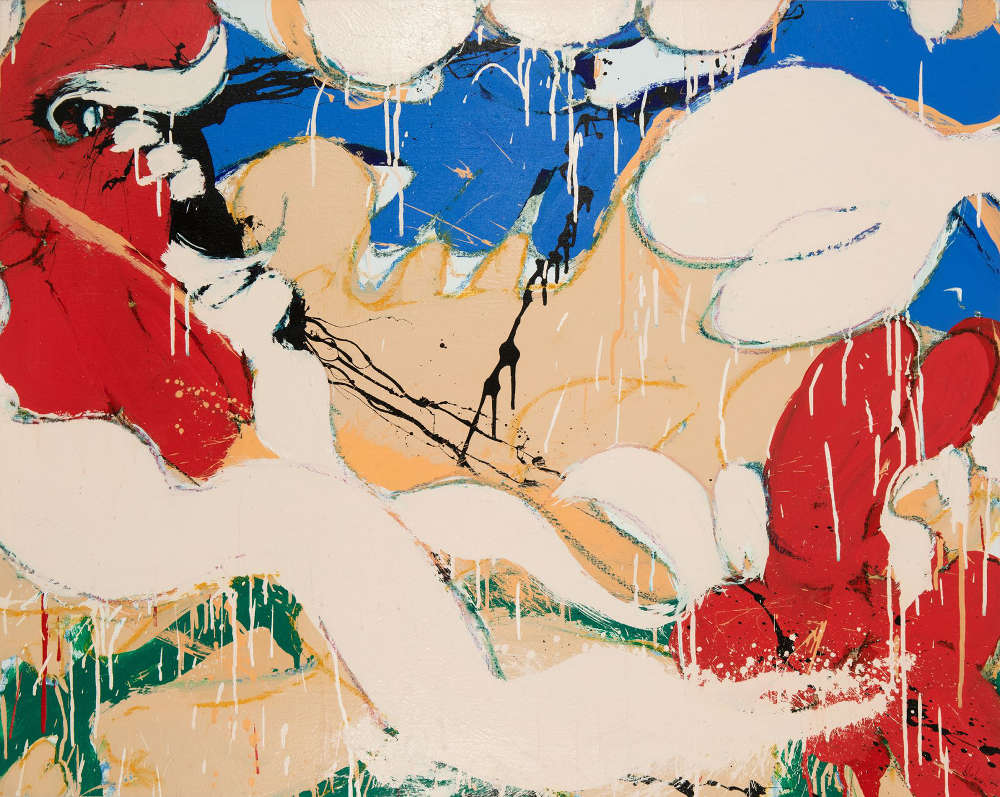Norman Bluhm (1921-1999), Untitled, 1976. Acrylic and pastel on canvas mounted to canvas, 38 x 48 inches. Signed and dated lower right: bluhm / '76