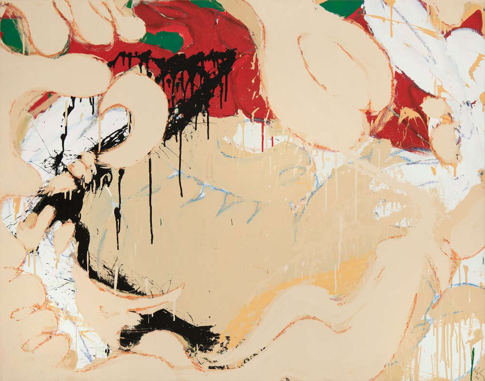 Norman Bluhm (1921-1999), Untitled, 1976. Acrylic and pastel on canvas mounted to canvas, 38 x 48 inches. Signed and dated lower right: bluhm / '76. Signed and dated verso: bluhm / '76