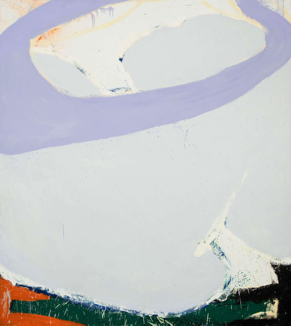 Norman Bluhm (1921-1999), Juno, 1970. Oil on canvas, 85 x 76 inches. Signed, dated, and titled verso: bluhm / '70 / 'JUNO'