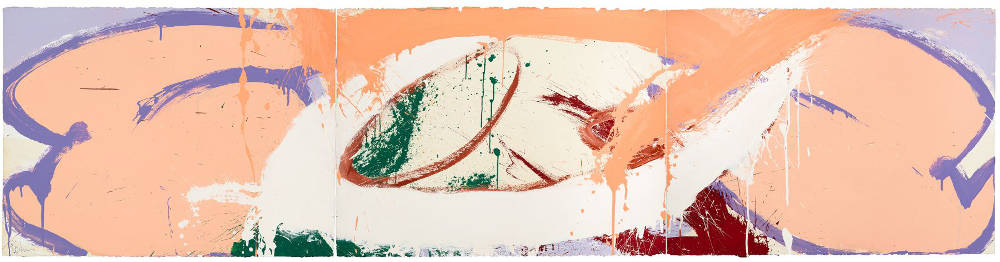 Norman Bluhm (1921-1999), Sibyls #3, 1971. Acrylic on paper, 22 1/2 x 90 3/4 inches (triptych). Signed and dated lower left: bluhm / '71