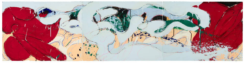 Norman Bluhm (1921-1999), Untitled, 1974. Acrylic, ink, and pastel on paper, 22 x 89 1/4 inches (triptych). Signed and dated lower right: bluhm / '74