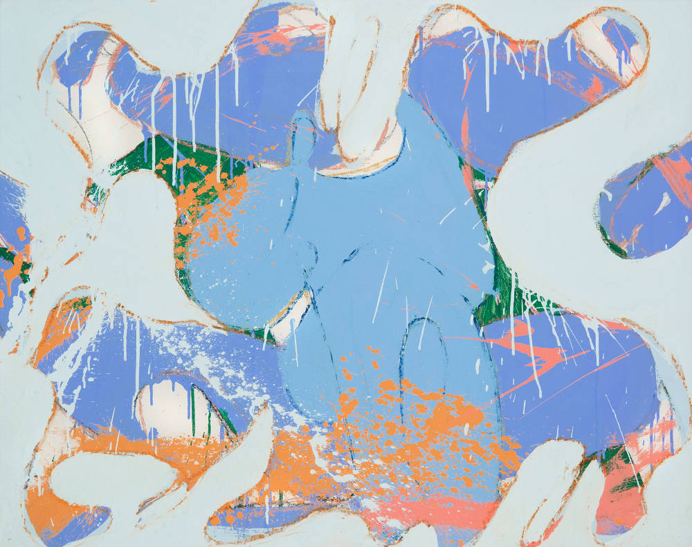 Norman Bluhm (1921-1999), Untitled, 1974. Acrylic and pastel on canvas, 38 x 48 inches. Signed and dated verso: bluhm / '74