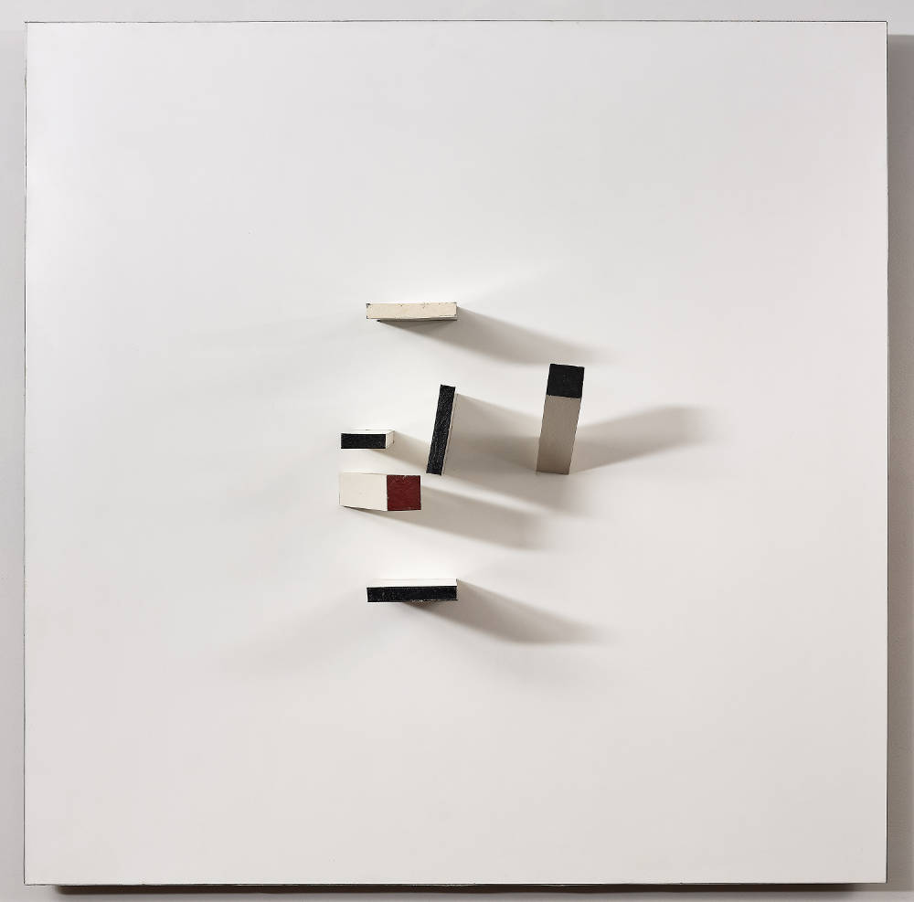 Victor Pasmore, Abstract in White, Black, Maroon and Indigo, 1963. Projective relief construction (painted wood and plastic) 122 x 122 x 27.5 cm
