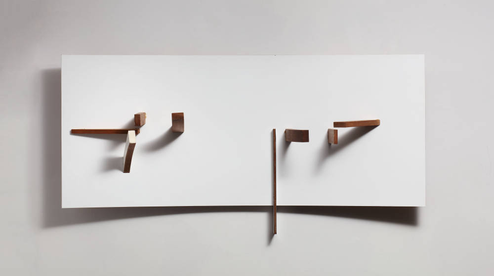 Victor Pasmore, Abstract in White, Black and Maroon, 1962-1963. Curved surface (painted wood and plastic) 61 x 121.9 x 21.5 cm