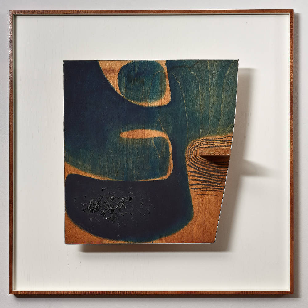 Victor Pasmore, Blue Development (Indigo) No.4, 1964. Black chalk, composition and oil on wood 82 x 82 x 21.5 cm