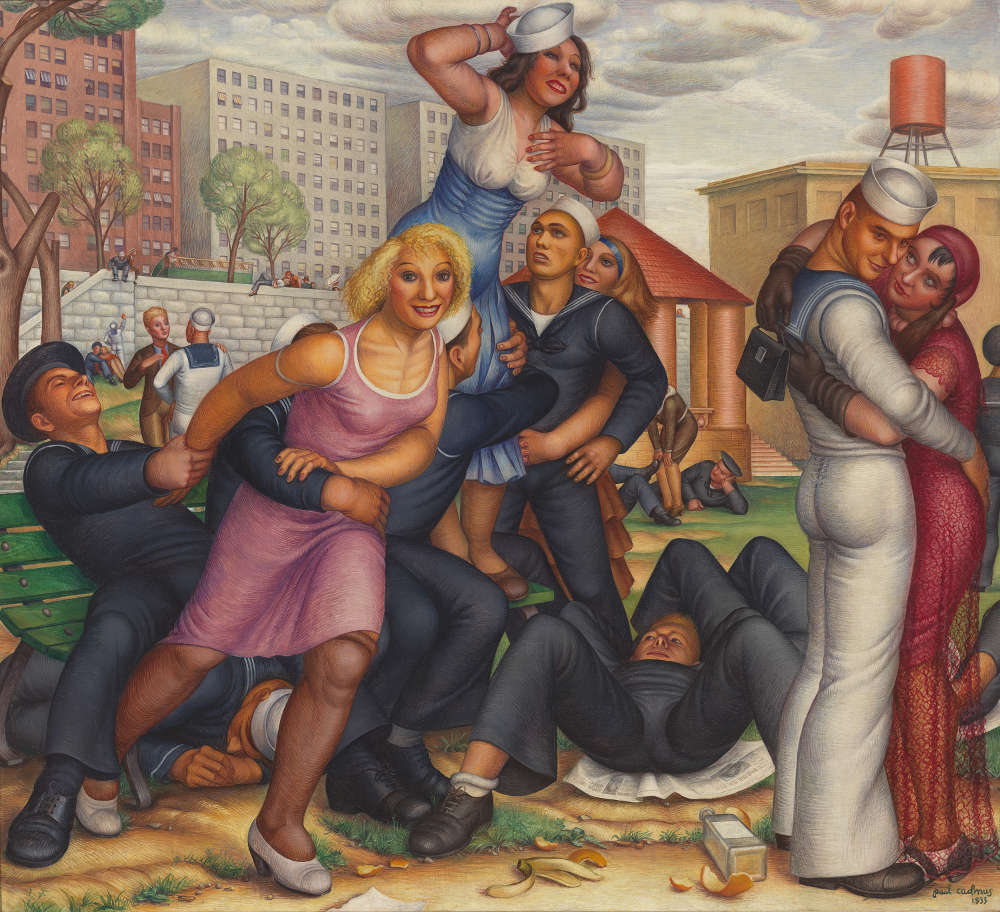 Paul Cadmus, Shore Leave, 1933. Whitney Museum of American Art, New York. Gift of Malcolm S. Forbes © 2019 Estate of Paul Cadmus / Artists Rights Society (ARS), NY