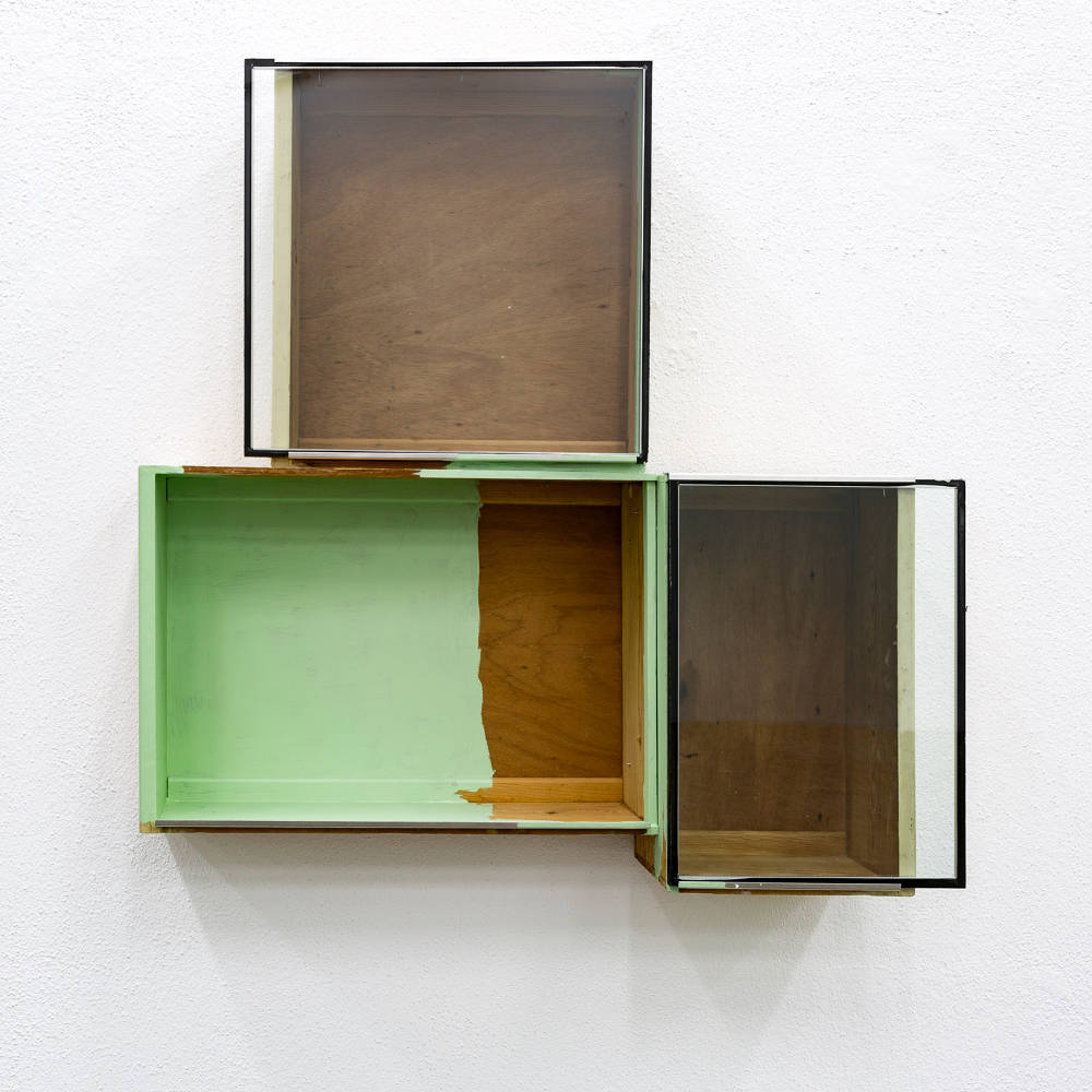 Pedro Cabrita Reis, The drawers suite #2, 2017. Enamel on found wood drawers, double glass, aluminum, total 97 x 98 x 24 cm (38 1/4 x 38 5/8 x 9 1/2 in.)