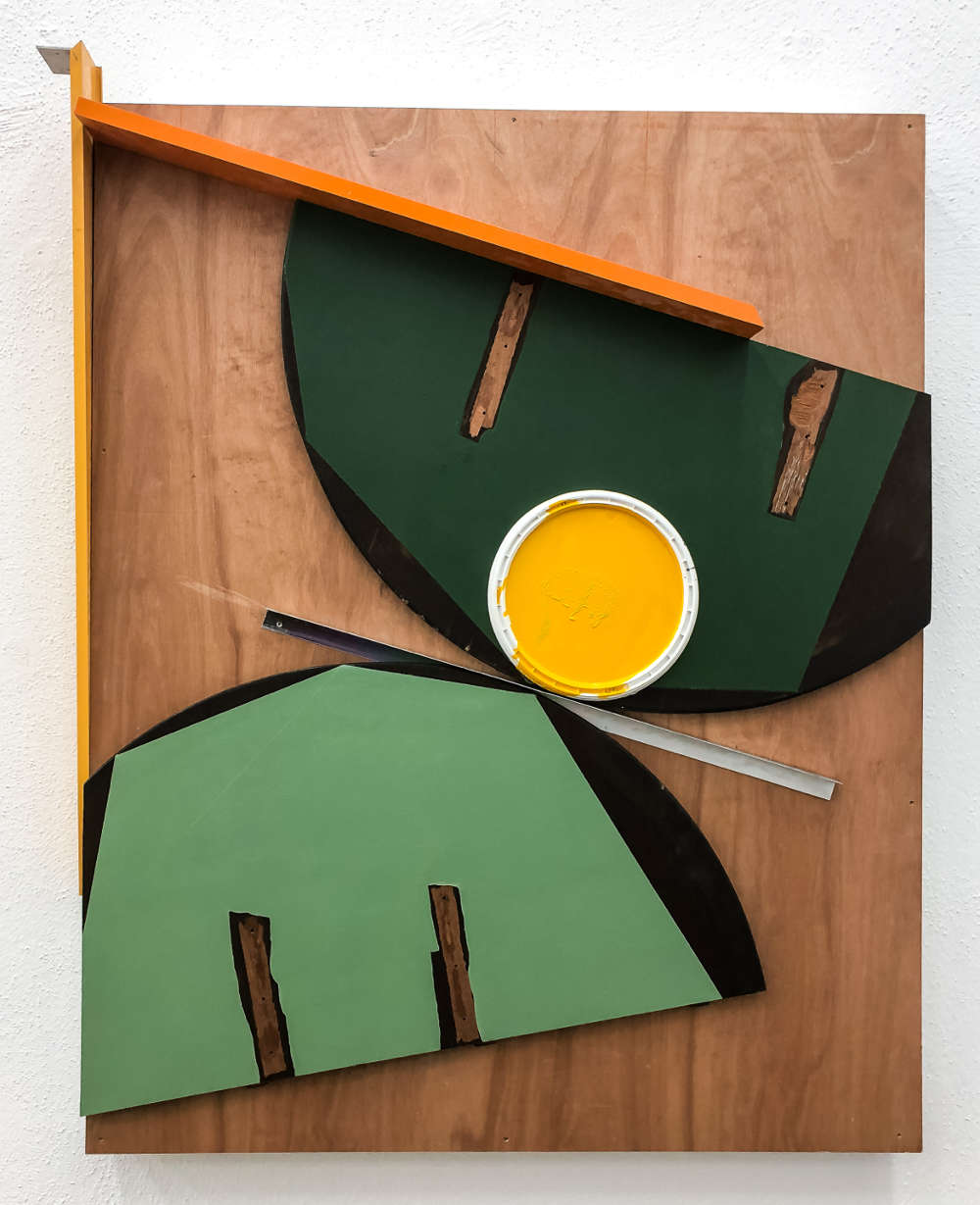 Pedro Cabrita Reis, The Redux Suite (2nd series / the baroque paintings) #9, 2018. Aluminum and enamel on found table top, plastic lid, aluminum frame and plywood 156 x 126 x 22 cm (61 3/8 x 49 5/8 x 8 5/8 in.) signed and dated on the back