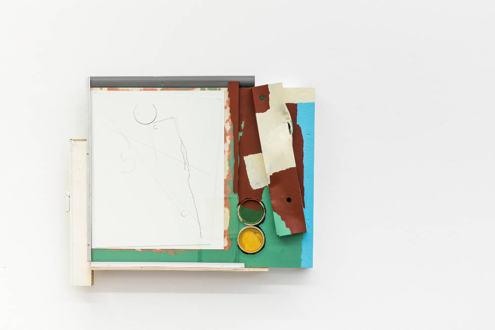 Pedro Cabrita Reis, The preliminary sketches #6, 2019. Aluminum, plywood, glass, mixed media on Cardboard, enamel on acrylic, pvc tube, two found lids 70 x 84 x 14 cm (27 1/2 x 33 1/8 x 5 1/2 in.)