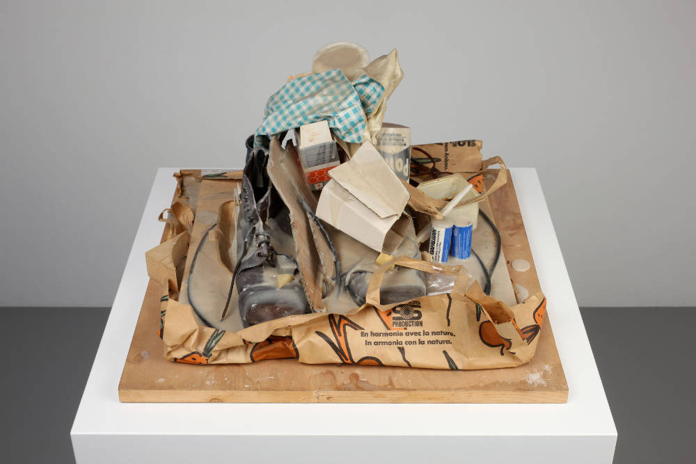 Dieter Roth, Turmgebilde, 16, 1988 –1993. Mixed media on wood (glass, plastics, leather, paper, card, metal) 55 x 55 x 34 cm / 21 5/8 x 21 5/8 x 13 3/8 inches © Dieter Roth Estate. Courtesy the Estate and Hauser & Wirth