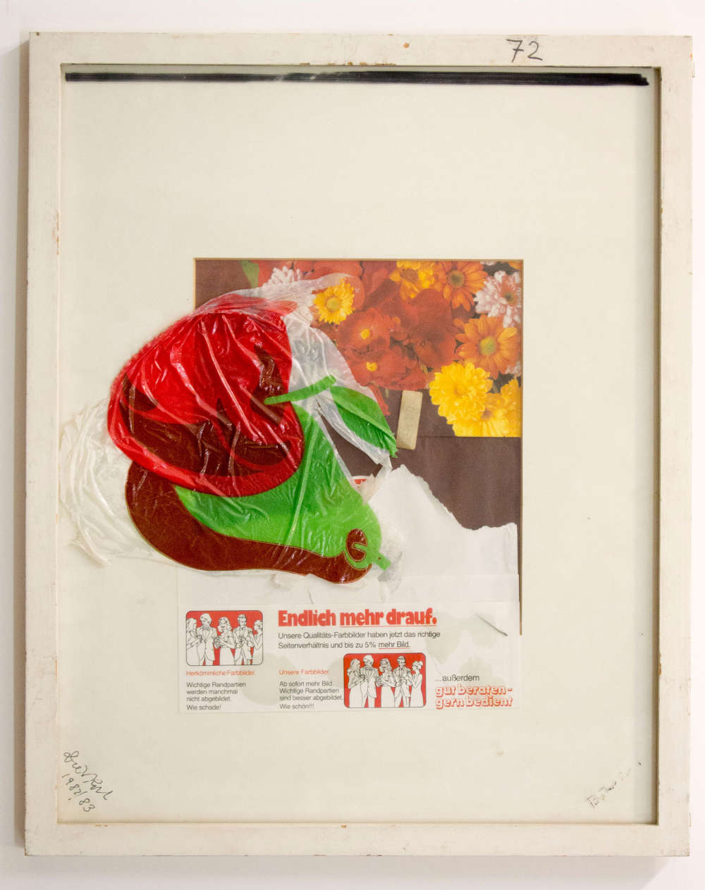 Dieter Roth, Stilleben mit Apfel (Still life with Apple) (with Björn Roth), 1982-1983. Printed plastic film and markers on glass on collage (prints) in and on Passepartout, in wooden frame 52.5 x 42.4 x 2 cm / 20 5/8 x 16 3/4 x  3/4 in (framed) © Dieter Roth Estate. Courtesy the Estate and Hauser & Wirth