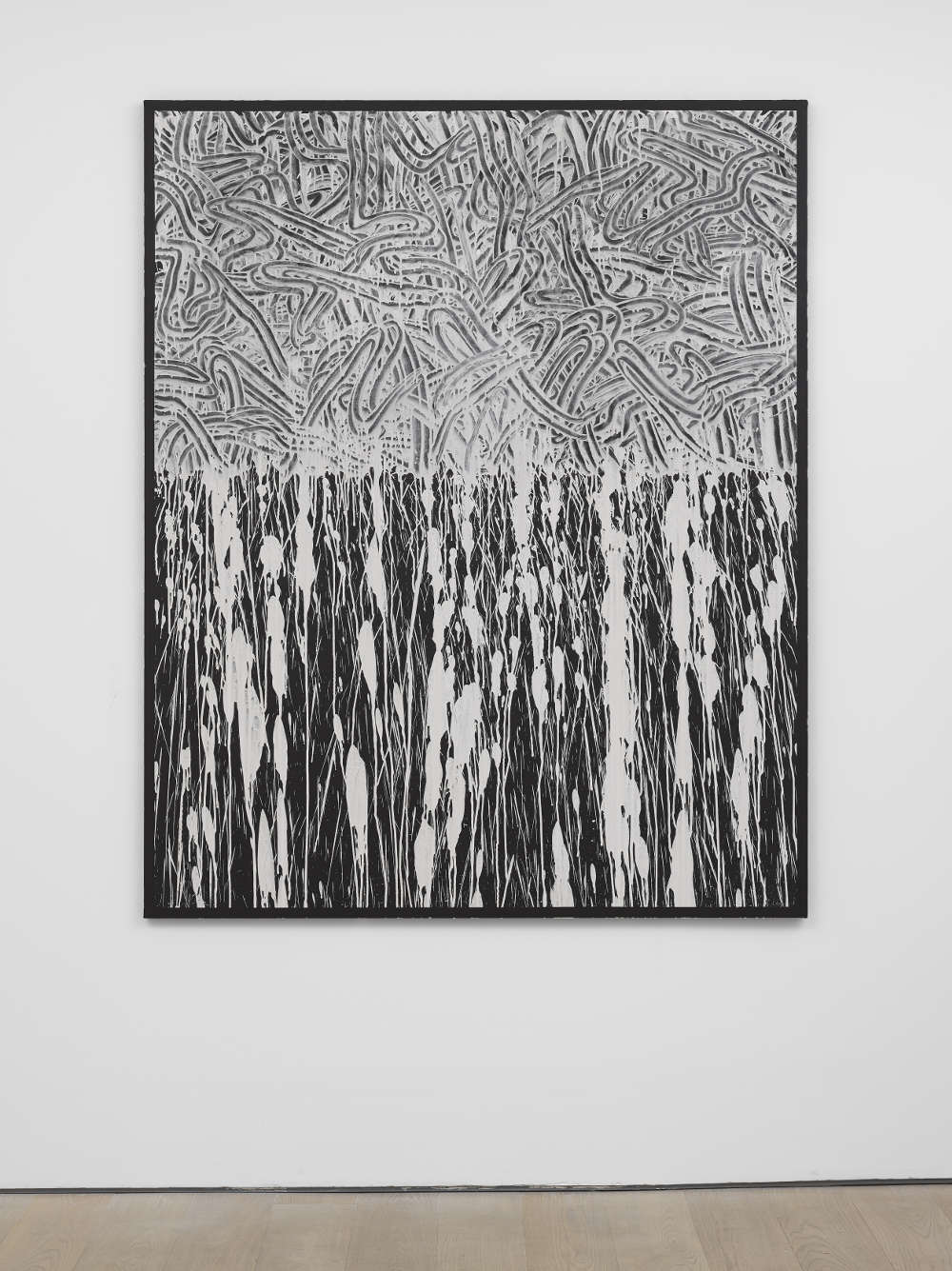 Richard Long, Untitled, 2018. China clay on linen on wood 185 x 150 x 2.7 cm 72 3/4 x 59 x 1 in © Richard Long; Courtesy Lisson Gallery
