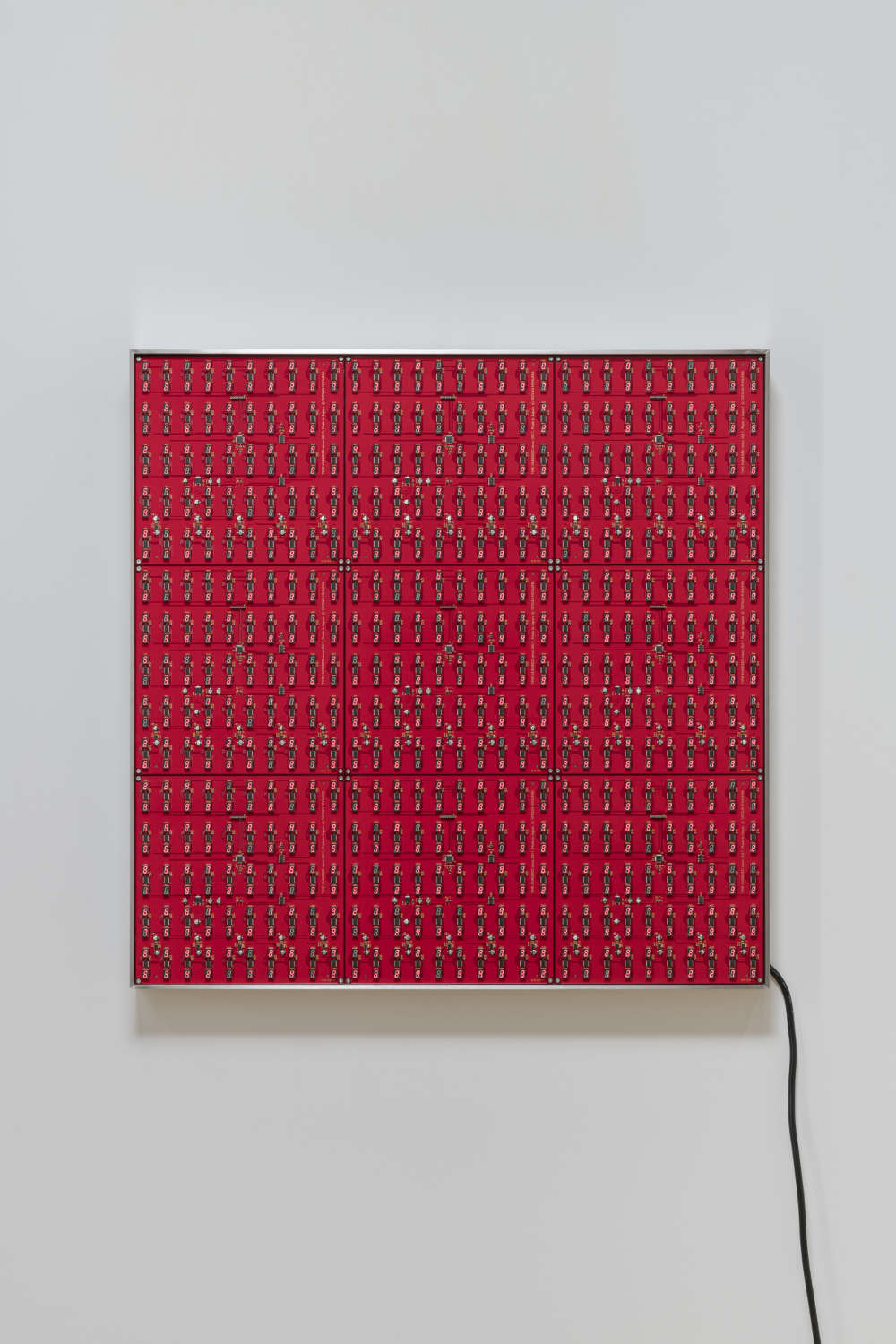 Tatsuo Miyajima, Innumerable Life/Buddha CM-02, 2018. Light Emitting Diode, IC, electric wire, steel, stainless, Transformer. LED type Time Hundred (Red) 9 plates 76.4 x 76.4 x 7.5 cm 30 x 30 x 2 7/8 in © Tatsuo Miyajima; Courtesy Lisson Gallery