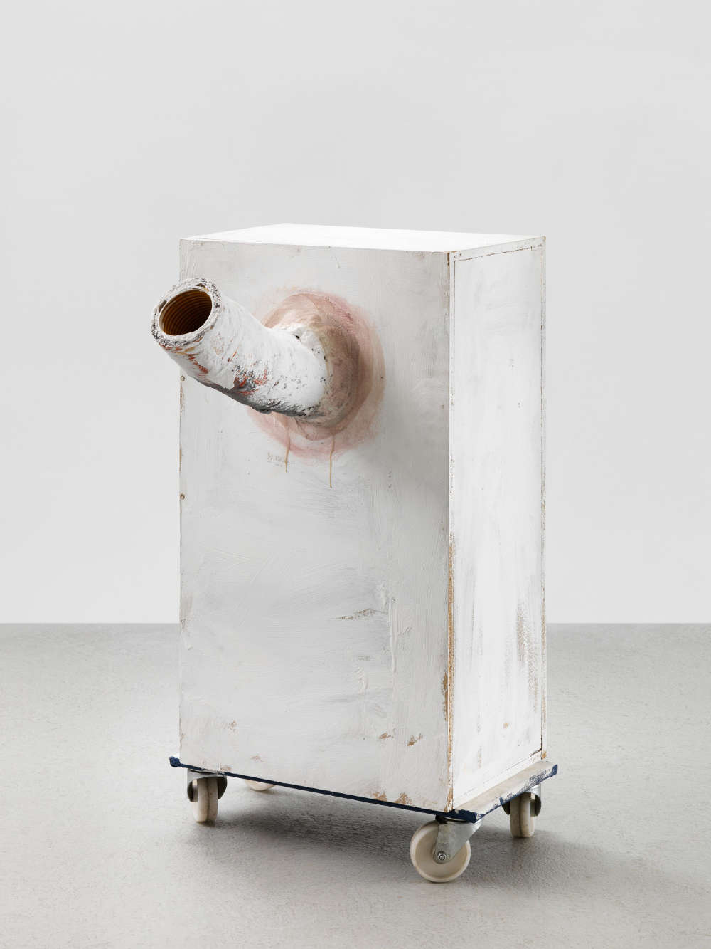 Franz West, Allzweckkasten (Multi-purpose box), 1998. Wood, four rollers, gauze, plaster, paint and polyester 110 x 79 x 54 cm / 43 1/4 x 31 1/8 x 21 1/4 in © Archive Franz West, © 2019 Estate of Franz West. Courtesy the Estate and Hauser & Wirth