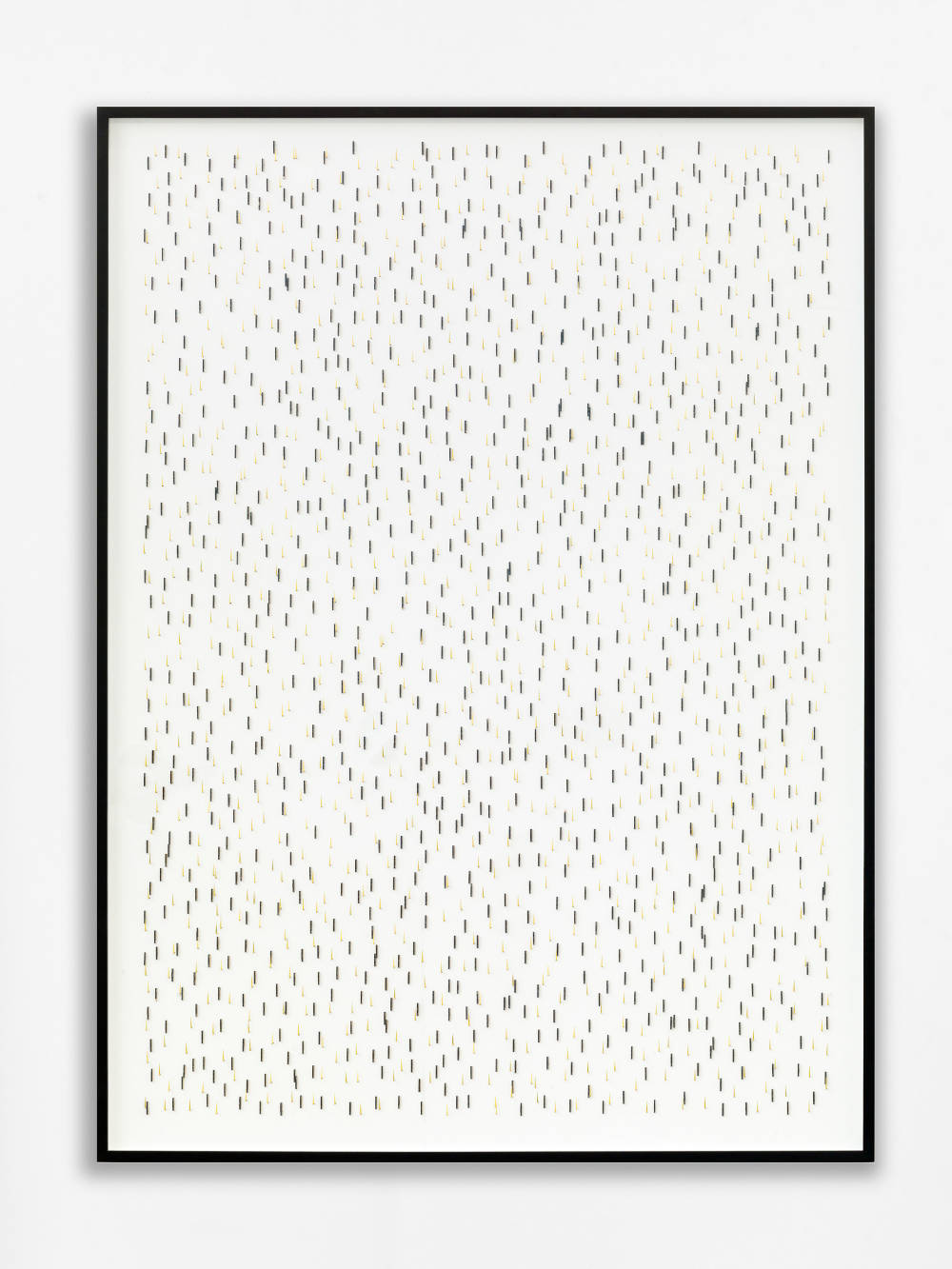 Alicja Kwade, Rain (17 minutes/ 100 cm), 2019. Clock hands and folding ruler on paper 52 1/4 x 38 7/8 x 1 7/8 inches (132.7 x 98.7 x 4.8 cm) framed. Unique