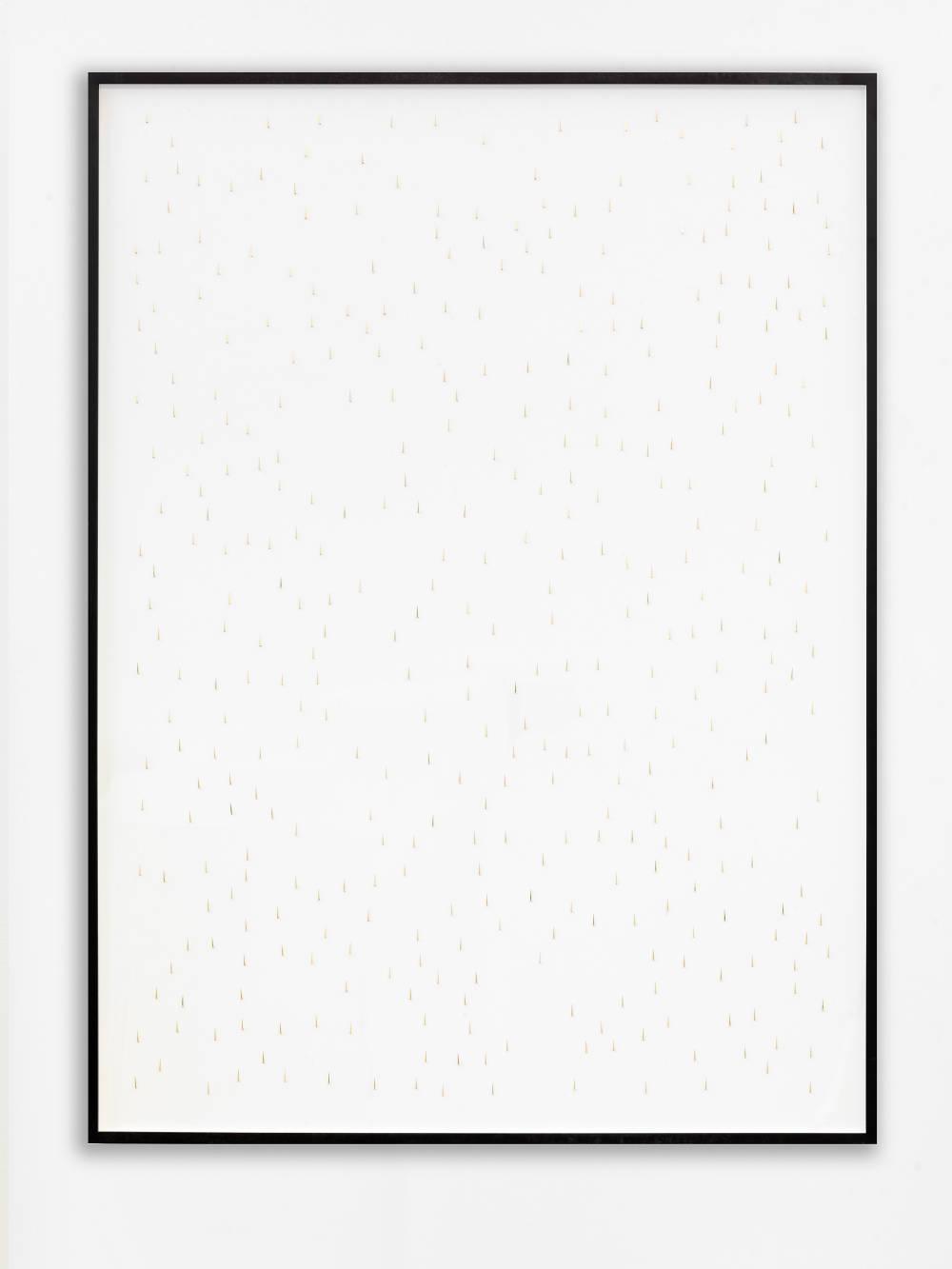 Alicja Kwade, Rain (7 minutes/ 0 cm), 2019. Clock hands on paper 52 1/4 x 38 7/8 x 1 7/8 inches (132.7 x 98.7 x 4.8 cm) framed. Unique