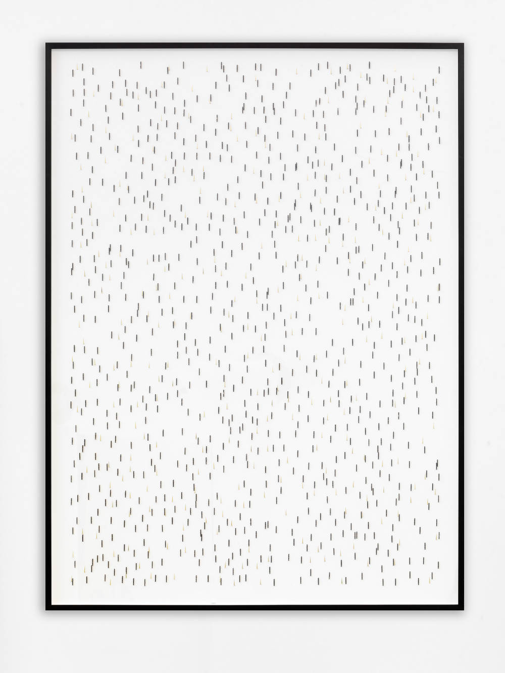Alicja Kwade, Rain (5 minutes/ 90 cm), 2019. Clock hands and folding ruler on paper 52 1/4 x 38 7/8 x 1 7/8 inches (132.7 x 98.7 x 4.8 cm) framed. Unique