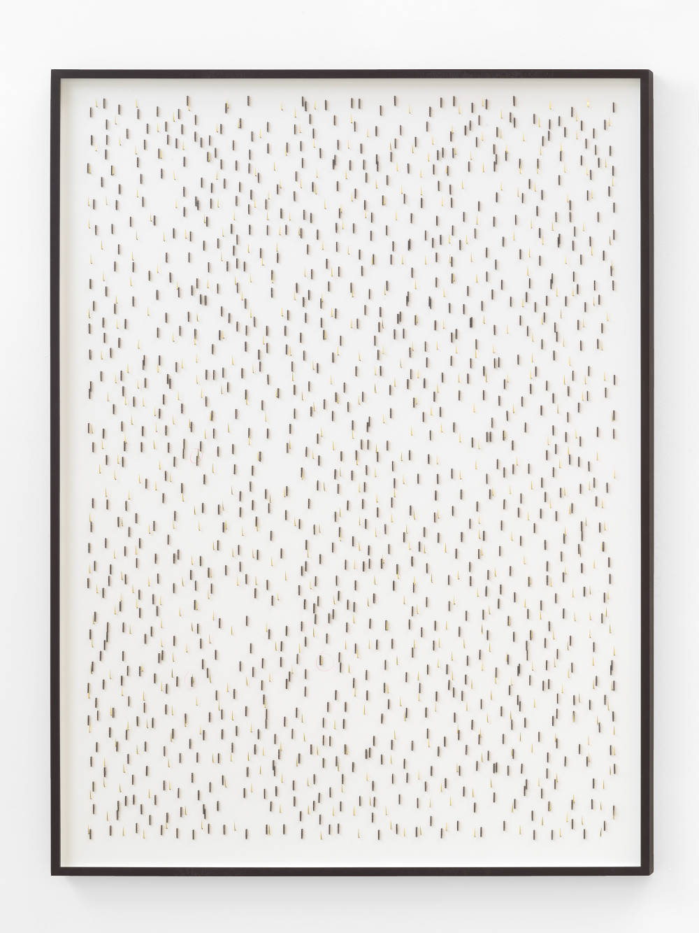 Alicja Kwade, Rain (10 minutes/ 100 cm), 2019. Clock hands and folding ruler on paper 52 1/4 x 38 7/8 x 1 7/8 inches (132.7 x 98.7 x 4.8 cm) framed. Unique