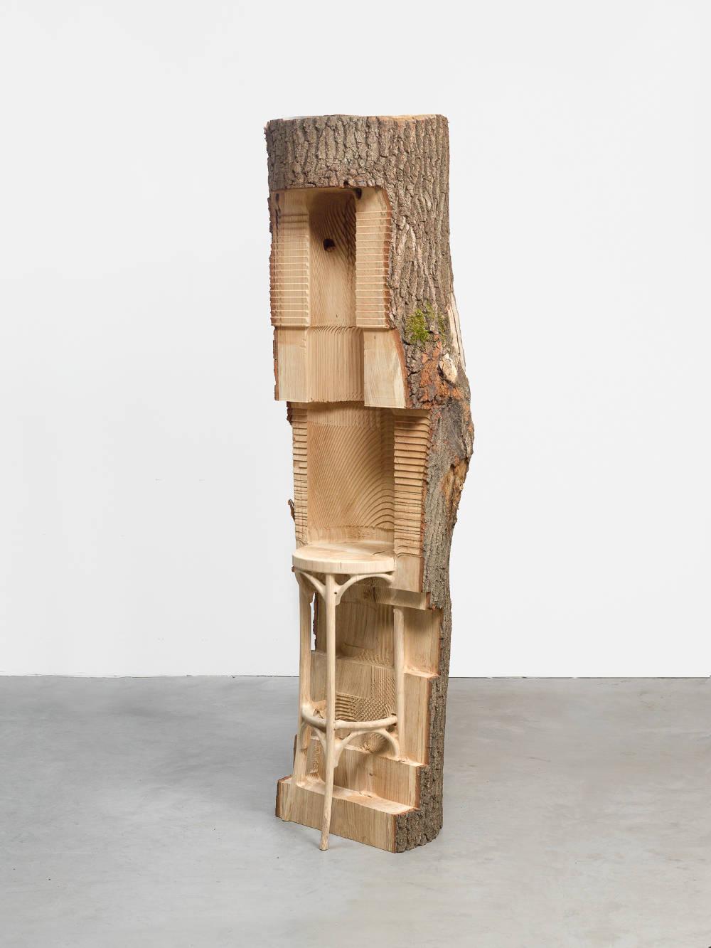 Alicja Kwade, abarchairisabarchairisabarchair, 2018. Wood 73 1/2 x 21 1/2 x 19 inches (186.7 x 54.6 x 48.3 cm) Unique
