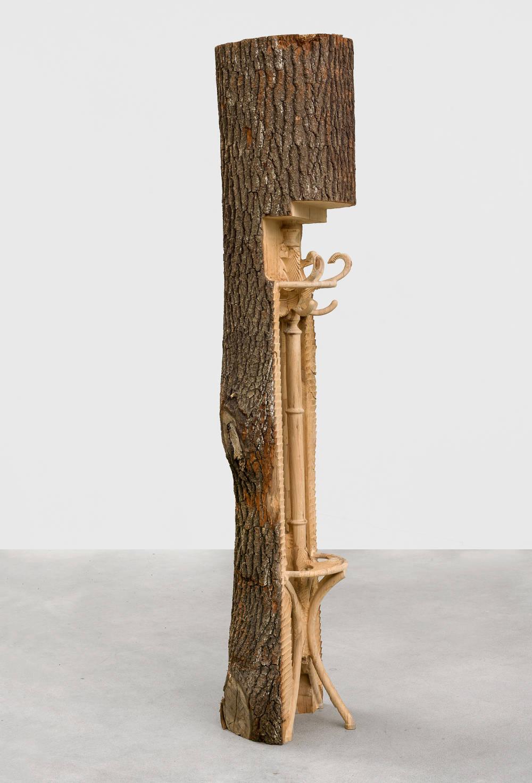 Alicja Kwade, aclothestreeisaclothestreeisaclothestree, 2018. Wood 96 1/2 x 22 x 20 inches (245.1 x 55.9 x 50.8 cm) Unique