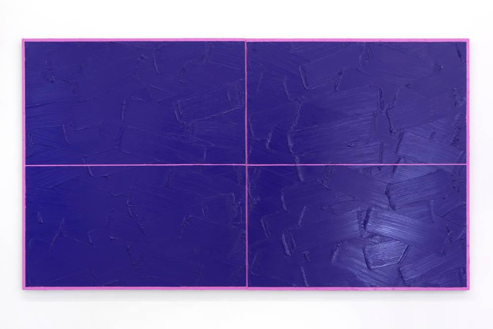 BertrandLavier, Artengo, 2019. Acrylic paint on a pingpong table 154x274cm ©ADAGPBertrandLavier. Photo:archiveskamelmennour. Courtesytheartist and kamelmennour,Paris/London