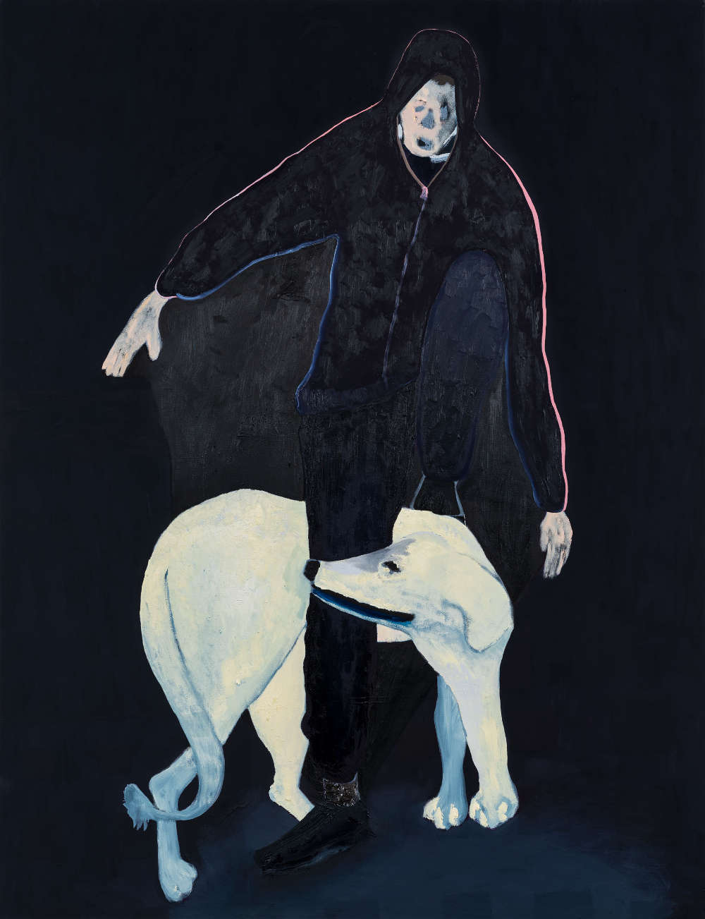 Florian Krewer, nice dog, 2019. Oil on canvas 86 1/2 x 67 inches 220 x 170 cm