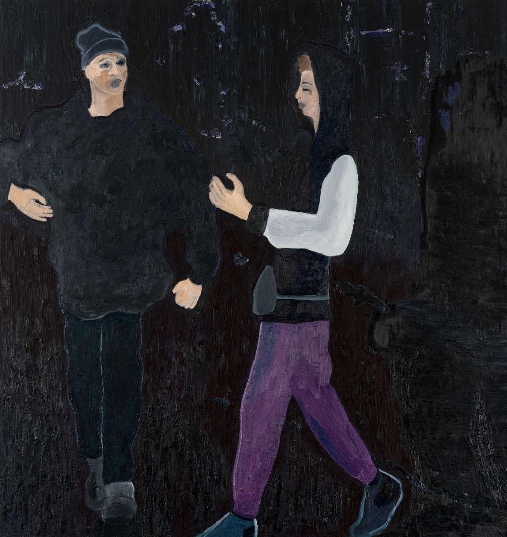 Florian Krewer, nighthawk 2, 2018. Oil on canvas 86 1/2 x 82 3/4 inches 220 x 210 cm