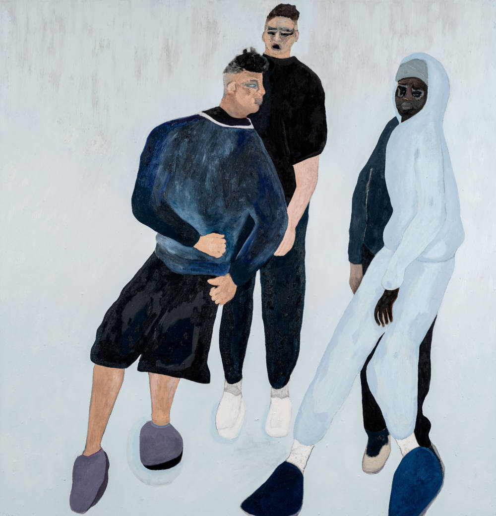 Florian Krewer, keeping it tight, 2018. Oil on canvas 94 1/2 x 90 1/2 inches 240 x 230 cm