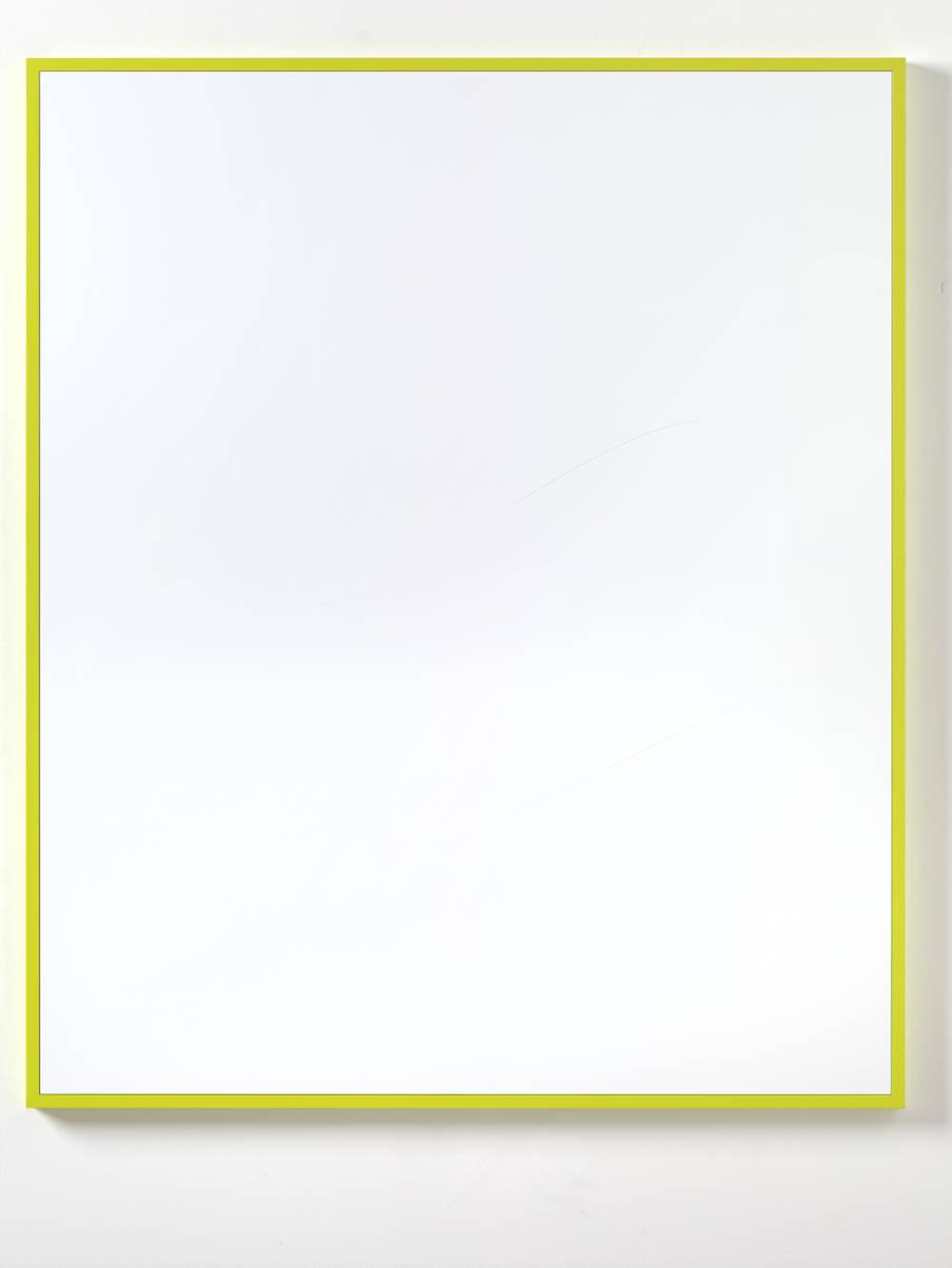 Gerwald Rockenschaub, Untitled (Intarsie), 2018. Acrylglas, Rahmen NCS S 0575-G70Y 150 x 125 cm (59,06 x 49,21 in) Courtesy Galerie Thaddaeus Ropac, London / Paris / Salzburg © Gerwald Rockenschaub. Photo: Ben Westoby