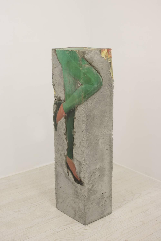 Catharine Czudej, Killian's Red, 2019. Concrete and cardboard 48 x 13 x 11 inches (121.9 x 33 x 27.9 cm)