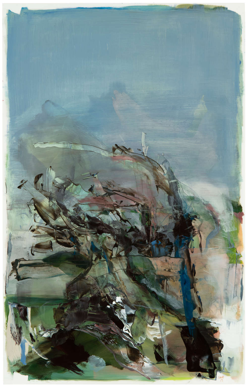 Hollis Heichemer (b. 1963), #13, 2019. Initialed and dated lower right: HAH / 19. Oil on Mylar 19 x 12 inches