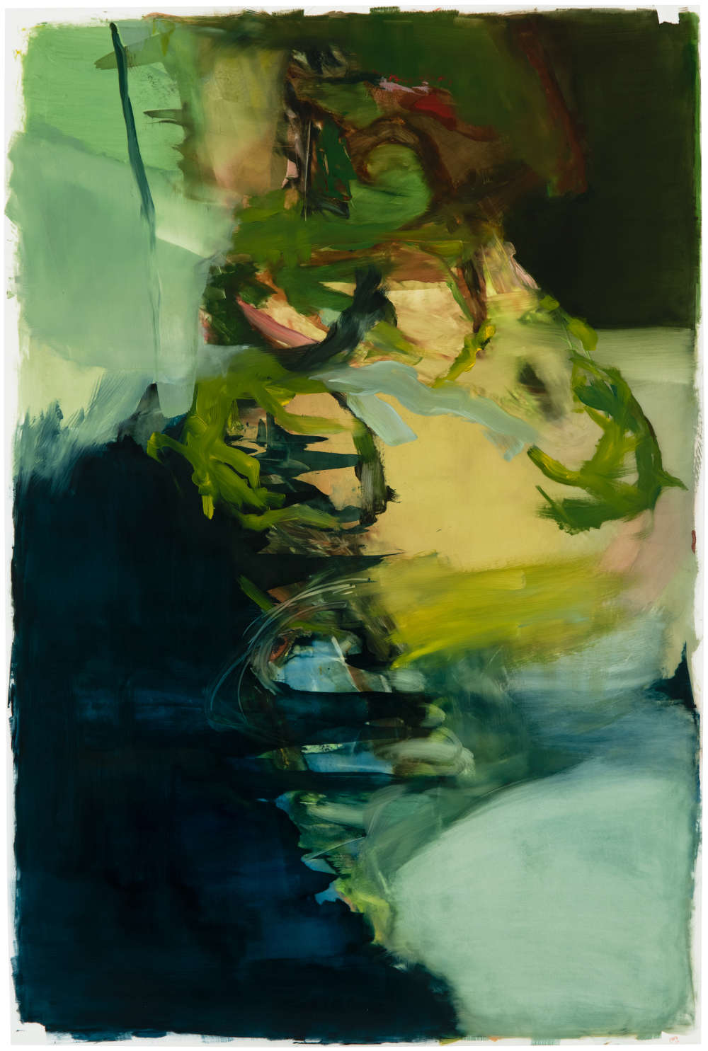 Hollis Heichemer (b. 1963), #1, 2019. Initialed and dated lower right: HAH / 19. Oil on Mylar mounted on board 36 x 24 inches
