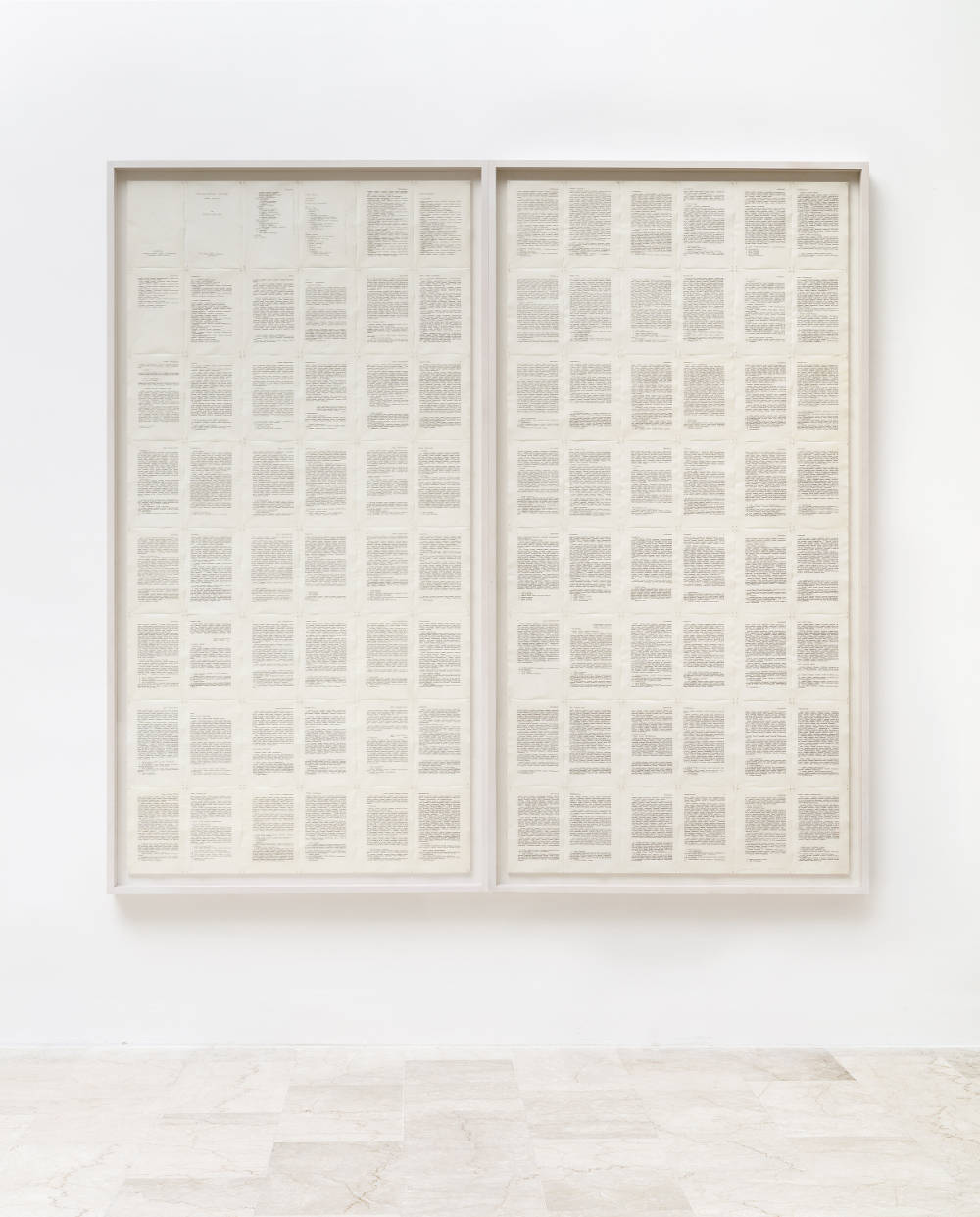 Irma Blank (b. 1934), Trascrizioni, Della critica I e II, 1975. Indian ink on parchment like paper, 96 pages, diptych. Each: 9 1/4 x 6 1/8 in. (23.5 x 15.5 cm) Overall: 74 1/8 x 73 1/4 in. (188 x 186 cm.) Courtesy of Luxembourg & Dayan, New York and London