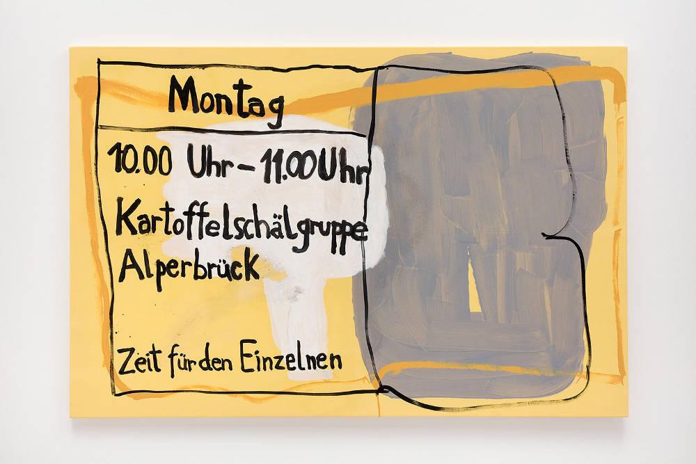 Michaela Eichwald, Kartoffelschälgruppe Alperbrück, 2019. Acrylic and lacquer on pleather 130 x 195 cm © Michaela Eichwald, courtesy Maureen Paley, London