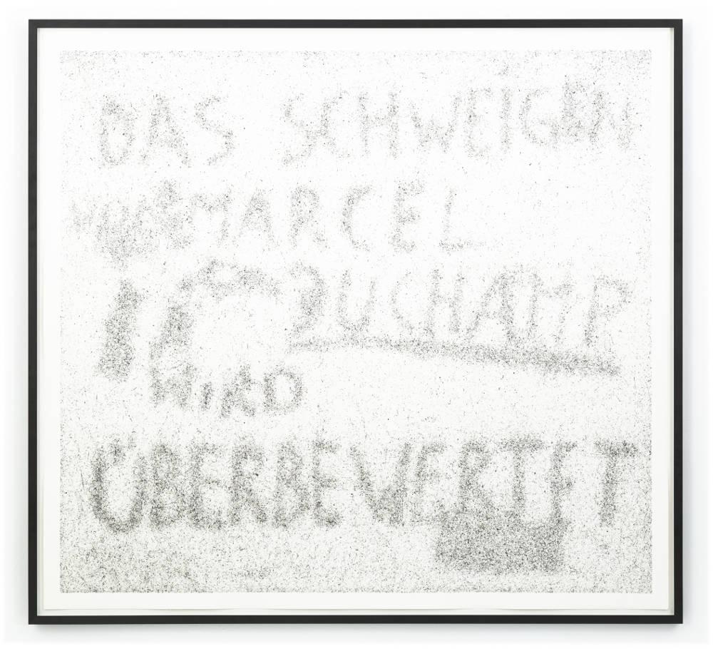 Maximilian Prüfer, Das Schweigen von Marcel Duchamp wird überbewertet, 2019. Fly-Behavior, Hadern-Paper 169 x 183.5 cm 66 1/2 x 72 1/4 in