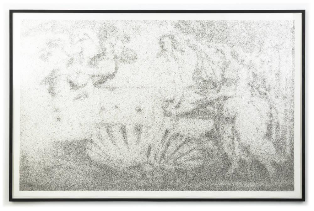 Maximilian Prüfer, La nascita di Venere, 2019. Fly-Behavior, Hadern-Paper 180 x 290 cm 70 7/8 x 114 1/8 in