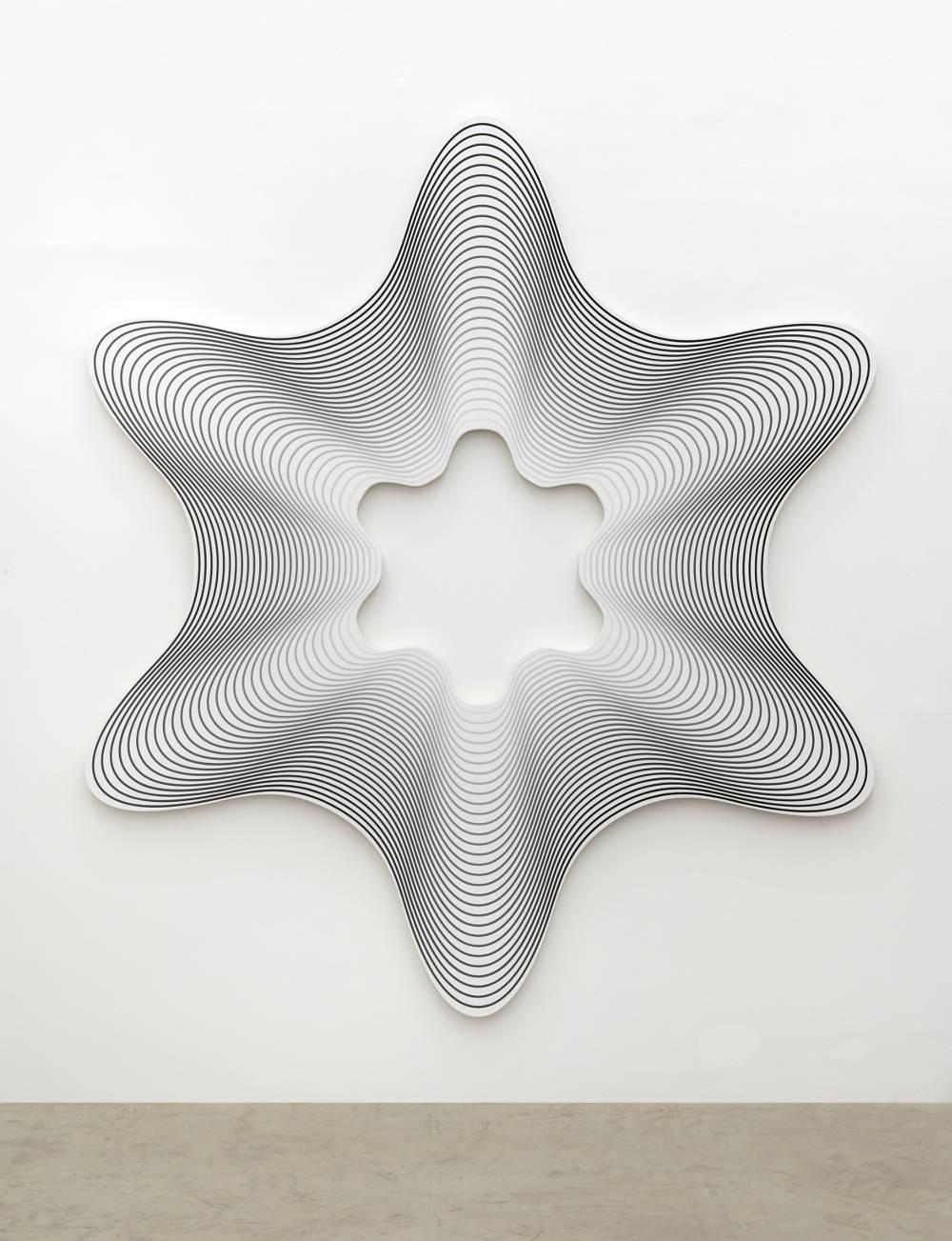 Philippe Decrauzat, Delay Exa # 3 (Black to White), 2019. Acrylic paint on canvas 235 x 206 x 3,5 cm/92.5 x 81.1 x 1.4 in. Photo © Nei Toledo. Courtesy of the artist and Galeria Nara Roesler