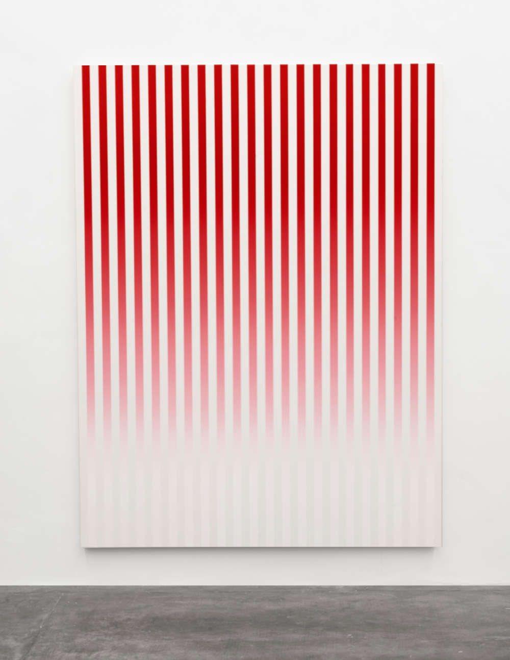 Philippe Decrauzat, Slow Motion Red # 1, 2019. Acrylic paint on canvas 200 x 150 x 4,5 cm/78.7 x 59.1 x 1.8 in. Photo © Nei Toledo. Courtesy of the artist and Galeria Nara Roesler
